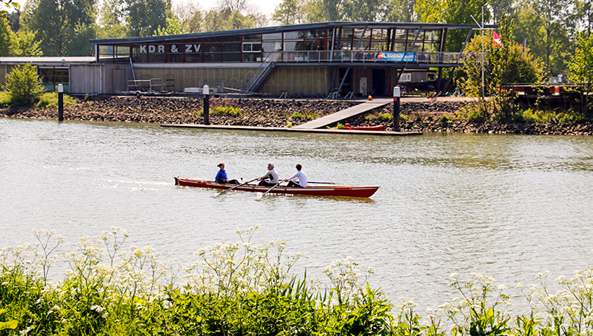 Slat canopy for rowing club in Dordrecht